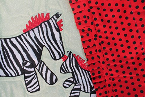 Ship Applique - Mommy and Baby Zebra Crib Baby Quilt Machine Applique Ready to Ship