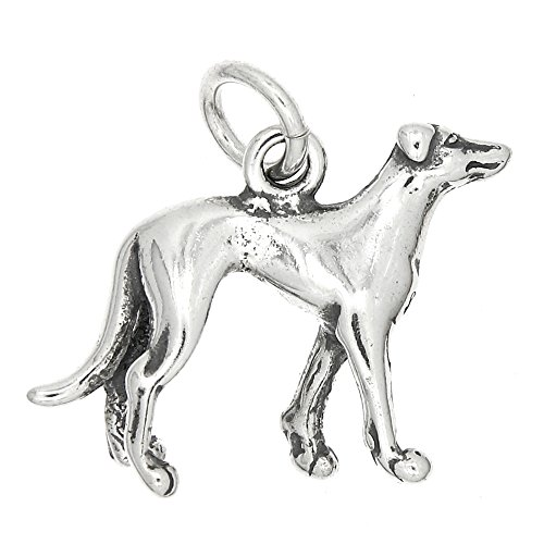 Sterling Silver Oxidized Three Dimensional Greyhound Dog Charm