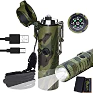 Electric Lighter (Rechargeable),Millketitech 3 in 1 Windproof Plasma Lighter with Tactical Flashlight & Co