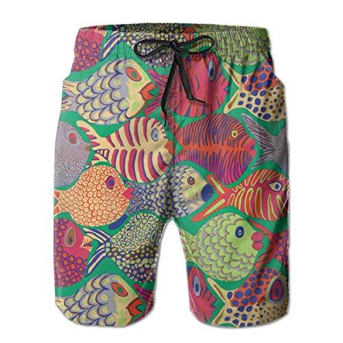 FANTASY SPACE Mens Comfort Swim Trunks for Beach Athletic Sport Full Elastic Waist Quick Dry Full Elastic Drawstring Half Pants Summer Beachwear - Fish Shoal Green