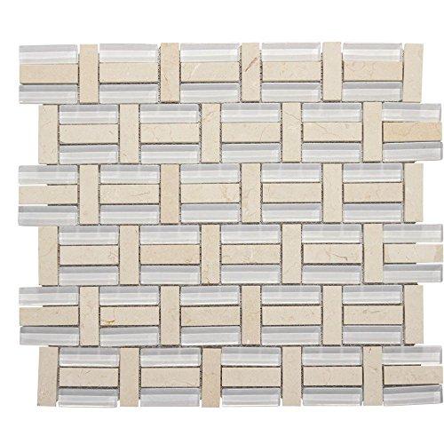 Jeffrey Court 13-3/4 in. x 11-3/4 in. Citrus Splash Glass/Beige Marble Mosaic Wall Tile (Beige Mosaic Tile Flooring)