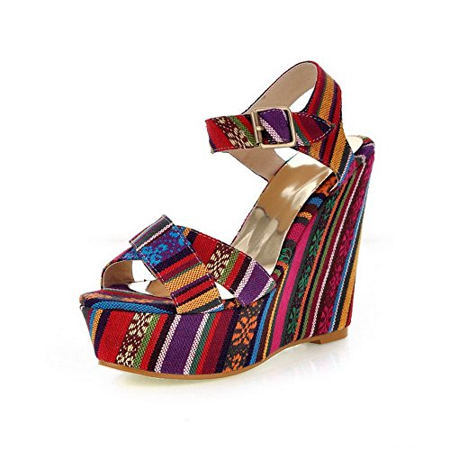 Heels AmoonyFashion Womens Sandals Red Buckle Color High Open Toe Fabric Assorted X6wgqHPw