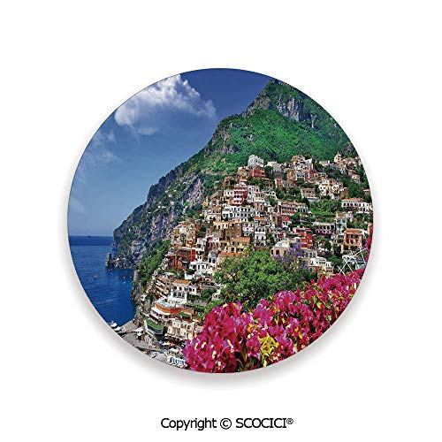 Ceramic Coasters with Cork Base, Prevent Furniture from Dirty and Scratched, Suitable for Kinds of Mugs and Cups,Italy,Scenic View of Positano Amalfi Naples ()
