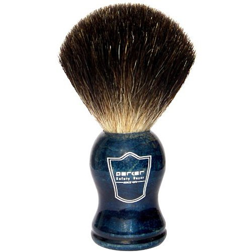 Parker Safety Razor 100% Black Badger Bristle Shaving Brush with Blue Wood Handle - Brush Stand Included