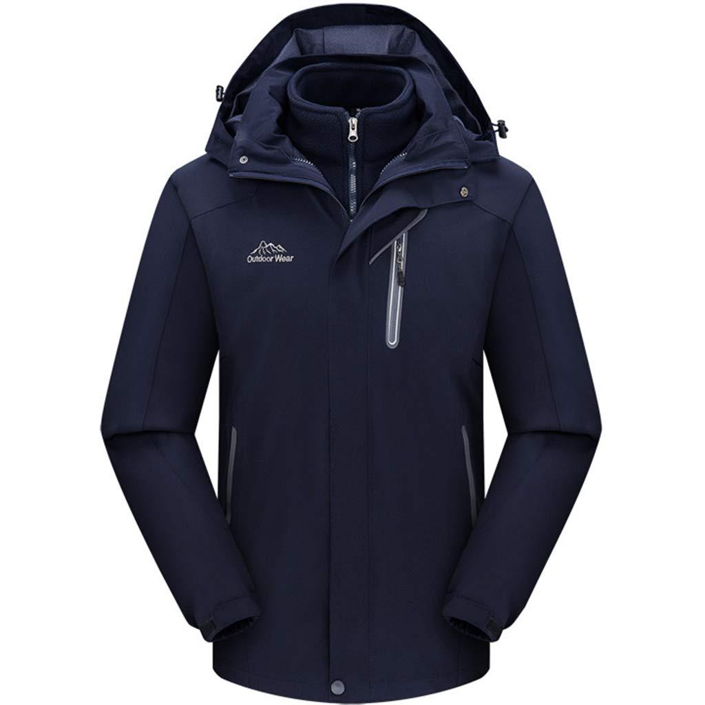 Liabb Mens Außen 3-in-1 Bergjacke Softshell Fleece-Futter-Jacke wasserdichte Wanderjacke Radfahren Mäntel mit Kapuze Regenmantel Ski Klettern Bekleidung
