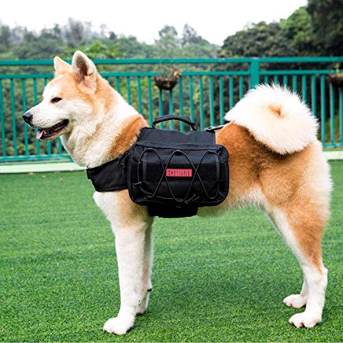 OneTigris Dog Pack Hound Travel Camping Hiking Backpack Saddle Bag Rucksack for Medium & Large Dog (Black Advanced Version for Medium & Large Dog - 1000D Nylon)