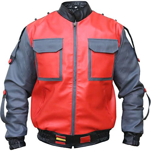 Back to The Future Michael J. Fox Marty McFly 2 Faux Leather Red Jacket, XXS - 3XL -