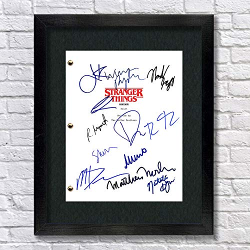 Stranger Things TV Show Cast Autographed Signed Reprint 8.5x11 Script Framed 13x15 Millie Bobby Brown Gaten Matarazzo Caleb McLaughlin Finn Wolfhard Noah Schnapp Winona Ryder