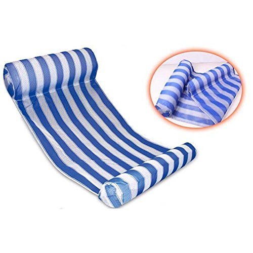 Deluxe Water Hammock (Deluxe Blue and White Stripe Water Float Hammock with 2 Inflatable Pillows)
