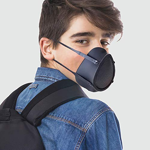 Adult Electric Silicone Air Puri fier Face Respirator with 5 Layer Composite Filters 6 Pack for Going Out Cycling Construction Site Work in Woodworking (Large, Black) (Color: Black, Tamaño: Large)