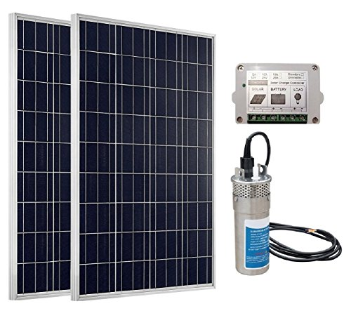 ECO-WORTHY 24V Deep Well Water Pump System: 1pc 24V DC Stainless Submersible Pump + 2pc 100W Poly Solar Panel + 1pc Charge Controller