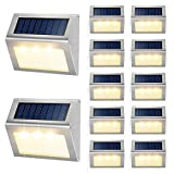 Solar Deck Lights Outdoor JSOT [Warm Light] Bright Step Stairs Light with Light Sensor Waterproof Stainless Steel Fence LED Lamp Lighting Patio Garden Pathway Walkway Security Lamps 12 Pack
