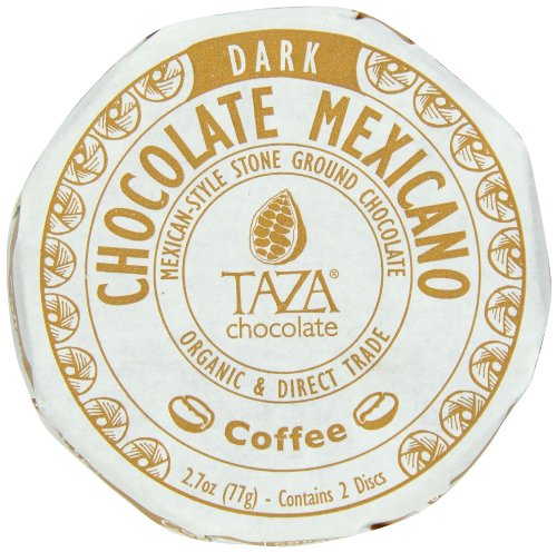 Stone Ground Organic Chocolate (Taza Chocolate Mexicano Disc, 55% Dark Organic, Coffee, 2.7 Ounce)