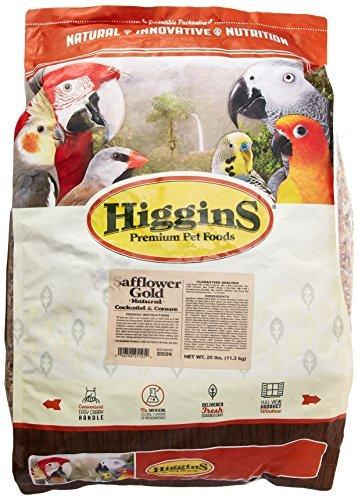 (Higgins 466125 Safflower Gold Natural Food For Conure/Cockatiel, 25-Pound)
