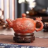 Saibang Chinese Zisha Purple Clay Teapot, New Handmade Dragon & Phoenix Design Porcelain Tea Pot Home Décor - 380cc