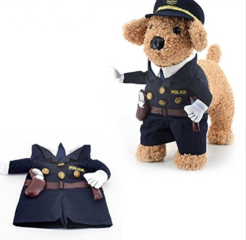 Iguana Dog Costume (Pet Costume Policeman Style Dog Jeans Clothes Cat Funny Apperal (S))