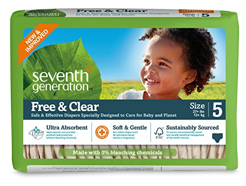Seventh Generation Baby Diapers, Free and Clear for Sensitive Skin, Original Unprinted, Size 5, 115 Count