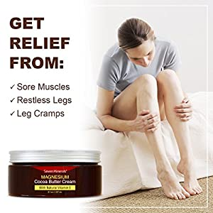 NEW Magnesium Cream for Pain Calm, Leg Cramps, Sleep & Muscle Soreness. With Moisturizing Organic Cocoa Butter and Vitamin E. Our All Natural USA Made Creme is Safe for Kids.