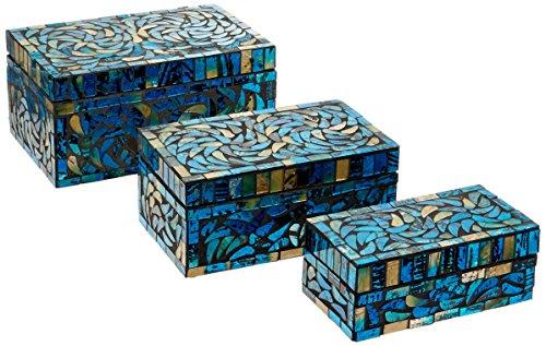 IMAX 80014 3 Peacock Mosaic Boxes