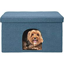 FurHaven Pet House | Footstool Ottoman Pet House for Dogs & Cats, Ocean Blue, Large