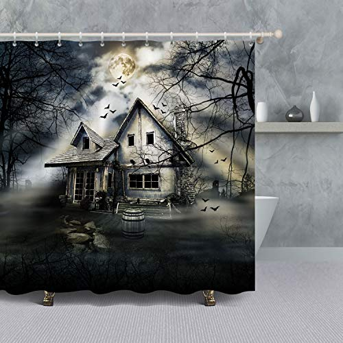 VANCAR Halloween Bathroom Shower Curtain,Scary Halloween Background Haunted House Graveyard Bats Foggy Forest Waterproof Polyester Fabric Bathing Shower Curtain Set for Halloween Decoration 66