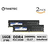 Timetec Hynix IC 16GB KIT(2x8GB) DDR4 2400MHz PC4-19200 Non ECC Unbuffered 1.2V CL17 2Rx8 Dual Rank 288 Pin UDIMM Desktop PC Computer Memory Ram Module Upgrade (16GB Kit (2x8GB))