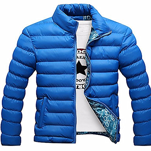 Sleeves Long Daily Blue Regular polypropylene Polyester Print Solid Active Casual Coat Men's ZHUDJ Padded SnfP7qx