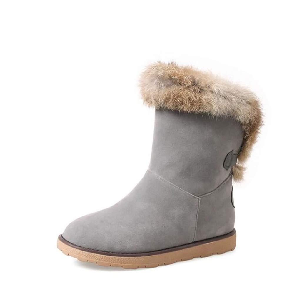 Hy Damen Stiefel Winter Stiefel Wildleder Winter Stiefelies/Damen Schnee Stiefel Stiefel/Academy Flache beiläufige große Größe Stiefeletten/Student Snow Stiefel Stiefel (Farbe : B, Größe : 35)