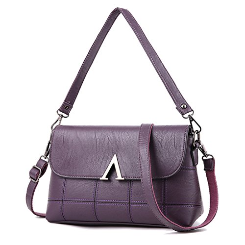 Tote middle aged Womens Lady Temperament Bag Dunland mother Purse Messenger Hobo Flip Shoulder bag bag Purple lady Handbag dqP5w0Yx0
