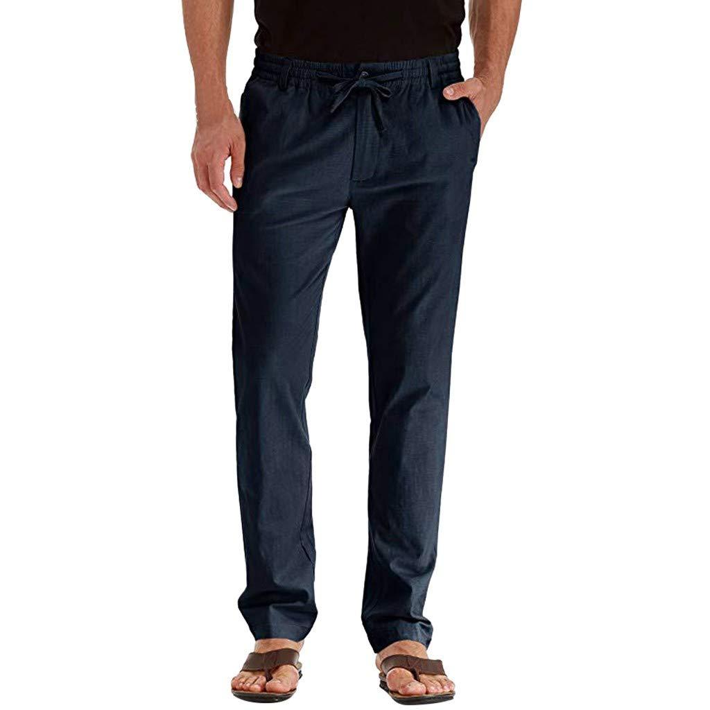 Respirant MOTOCO Pantalon d/écontract/é en Lin pour Hommes Pantalons Longs et l/âches de Couleur Unie