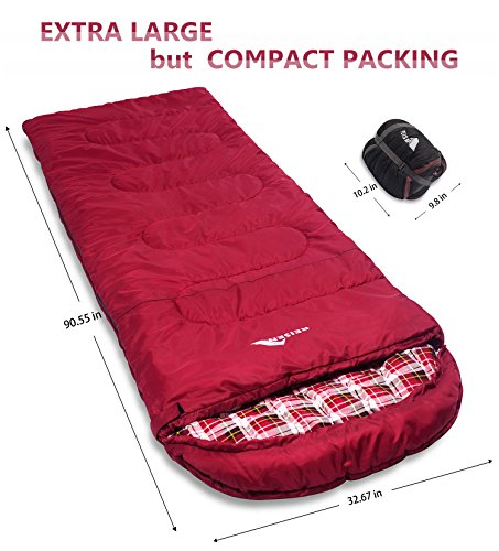 Reisen 0 Degree Lightweight Sleeping Bag Flannel Cold Weather Bags For Adults Youth