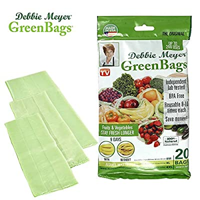 Debbie Meyer GreenBags - Reusable BPA Free Food Saver Storage Bags, Keep Fruits and Vegetables Fresher Longer in these Green Bags!