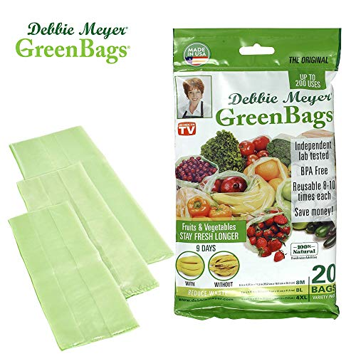 (Debbie Meyer GreenBags - Reusable BPA Free Food Storage Bags, Keep Fruits and Vegetables Fresher Longer in these GreenBags! 20pc Set (8M, 8L,)