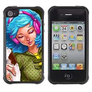 Suave TPU GEL Carcasa Funda Silicona Blando Estuche Caso de protección (para) Apple Iphone 4 / 4S / CECELL Phone case / / Blue Hair Woman Headphones Grunge Drawing /