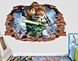 Lego Star Wars Yoda Luke 3D Sticker Wall Decal Smashed Vinyl Decor Mural Movie - Broken Wall - 3D Designs - AL62 (Large (Wide 40'' x 36'' Height))