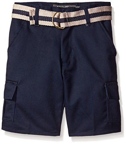 Eddie Bauer Big Boys' Belted Tbrush Twill Cargo Short, Classic Navy, (Belted Classic Belt)