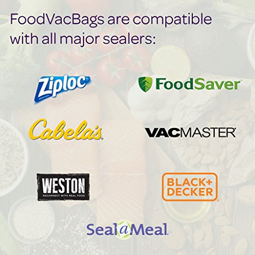 FoodVacBags 2-pack 11X50 Rolls Vacuum Sealer Bags 4 mil Embossed Commercial Grade for Sous Vide and Foodsaver by FoodVacBags (Image #2)