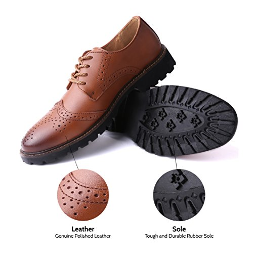 Marino Oxford Dress Shoes for Men – Formal Leather Shoes – Casual Classic Mens Shoes – Tan – Wingtip – 9.5 D(M) US