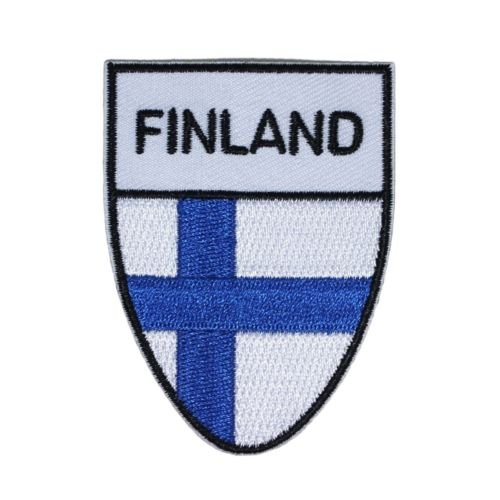 Blue Cross Flag of '',Finland'', Shield Patch Finnish Nation Badge Iron-On Applique for Accessories - Bags/Purses, Apparel - Coat/Jacket, Apparel - Jeans/Pants, Children, Crafts by (Finland Ribbons)
