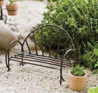 Delicieux Miniature Fairy Garden Accessories   Mini Metal Vine Bench   For Terrarium  Or Garden Decor