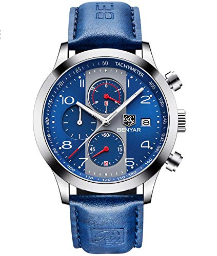 BENYAR Chronograph Waterproof Watches Business Leather Band Strap, Wrist Watch with Date for Men (Blue)