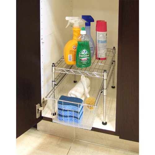 "Seville Classics Stackable UltraZinc 2-Tier Pull-Out Sliding Basket Cabinet Organizer, 17.5"" D x 11.5"" W x 10"" H"