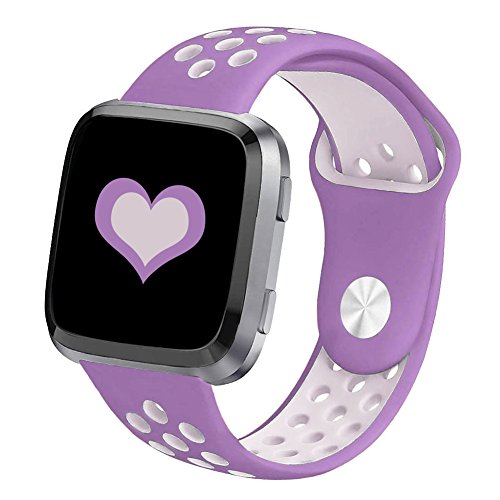 DEKER Sport Bands Compatible for Fitbit Versa Bands Women Men, Small Large Breathable Soft Fitness Sport Silicone Strap Replacement Accessories Wristbands (Purple/Lavender, Large)