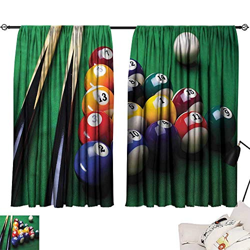 (Denruny Tie Up Shades Rod Blackout Curtains Manly,Billiard Pool Balls Snooker 54