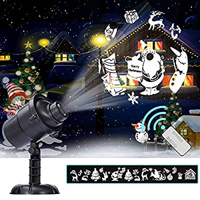 Christmas LED Rotating Projection Lamp 16 Patterns Waterproof Spotlight Landscape Light 3D Effect Christmas Indoor Outdoor Wall Decoration