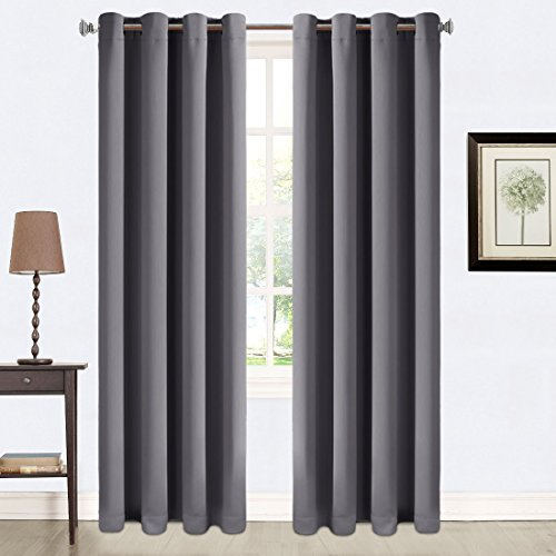 Balichun 2 Panles Blackout Curtains Thermal Insulated Grommets Drapes for Patio 52 by 95 Inch Dark Grey