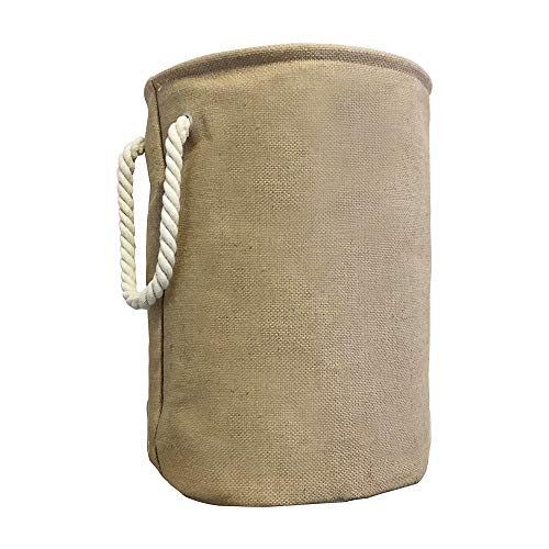 Spinnaker Collection Cotton Lined Burlap Round Storage Hamper - 18 Inches Tall with Wire Reinforced Rim and Rope Handles - Storage, Laundry, Toys, Clothes, Linens etc]()