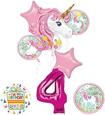 Amazon Unicorn Party Supplies Believe In Unicorns 4th Birthday Balloon Bouquet Decorations Toys Games
