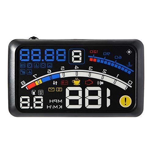 (Car Head-Up Display HUD Universal Digital Projection OBD Display Speed, Cruising Range, Fueling Reminder, Engine Fault Alarm)