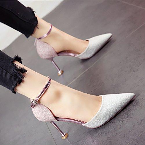 paillettes estate single tacco b Lo YMFIE aguzza con punta europeo stile primavera di alla scarpe sandali temperamento alta moda ed di col Scarpe ladies' zxRnwFRg